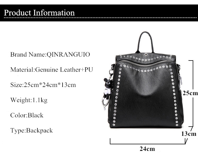 HTB1.7naXET1gK0jSZFrq6ANCXXay QINRANGUIO Leather Backpack Women School Bags for Teenage Girls 2019 New Fashion Large Capacity PU Leather Black Women Backpack