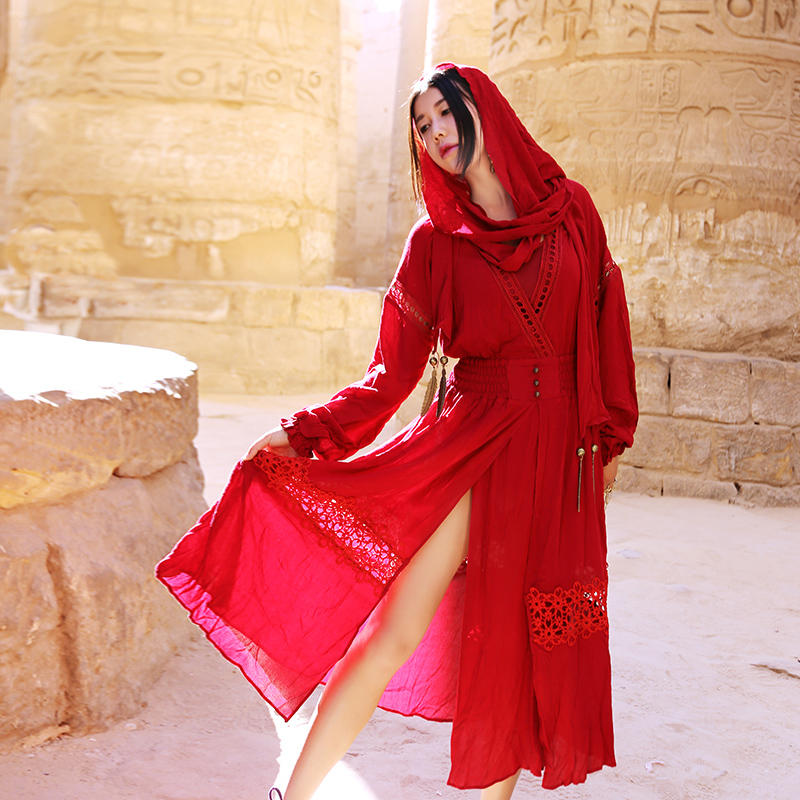 Staerk Limited Red New Spring In The Long Palace Retro Dress 2017 Summer Cotton Female Beach Cover Up Tunics For