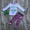 2016 shell roxo escamas verdes calças boutique do papai do bebê pequena sereia Queda roupas roupas meninas com arco e colar conjunto
