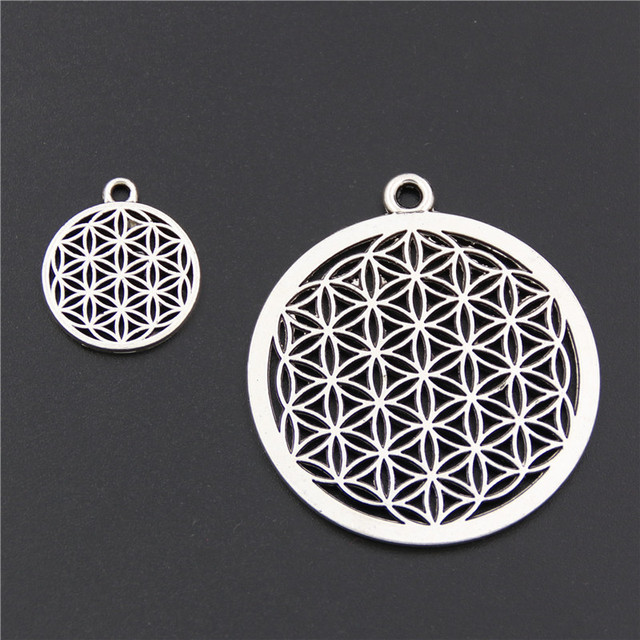 5pcs Antique Silver Flower of life Circle Shaped Seed of Life Sacred Geometry Cr