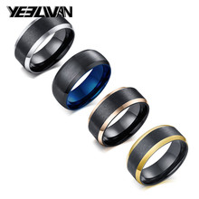 New Punk Wire Drawing Men's Rings High Quality Titanium Steel Black Blue Color Biker Rings for Men bague homme Gifts for Men 1 piece free shipping blue color wire drawing surface anodizing high quality aluminum junction housing case for electronics