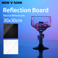 30x30cm Reflective Black & White Acrylic Display Boards for Tabletop Product Photography Reflective Matte Flat Finish Background
