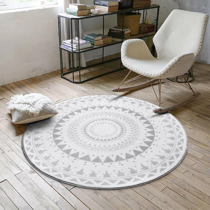 nordic round carpet computer chair floor mat kids play. Black Bedroom Furniture Sets. Home Design Ideas