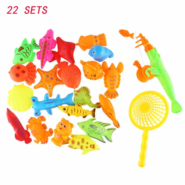 CCINEE 22PCs Set Game Kids 1 Fishing Rod 1 Net 20 3D Fish Baby Bath Toys Outdoor Fun Happy Fish Game