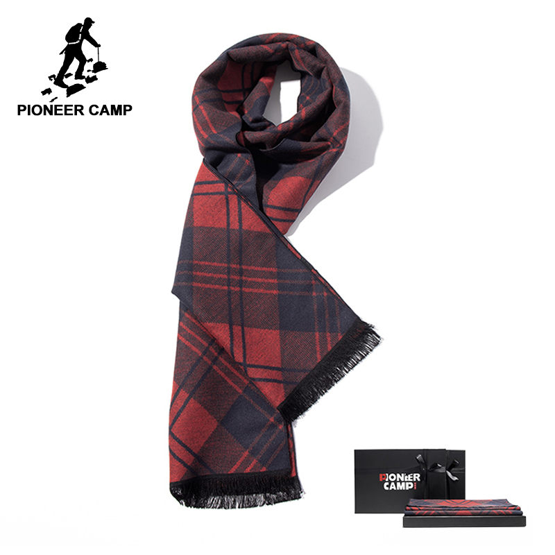 Apparel Accessories Pioneer Camp New Fashion Autumn Winter Mens Scarves With Gift Box Brand Clothing Red Plaid Scarf For Men Awj801468 To Prevent And Cure Diseases