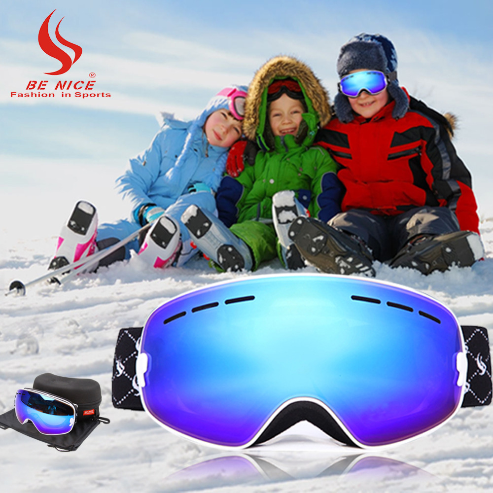 Skiing Goggle for Children kids UV 400 Anti-fog double lens snow goggle skiing glasses eye wear