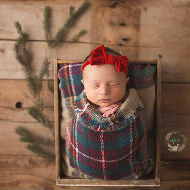 Manta tejida con flecos para recién nacido, fotografía de recién nacido accesorios Vintage, cesta de fotografía, relleno suave de queso Bebe