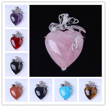 Trendy-beads Romantic Silver Plated Many Style Stone Love Heart With Silk Ribbon Pendant For Valentines Day Jewelry