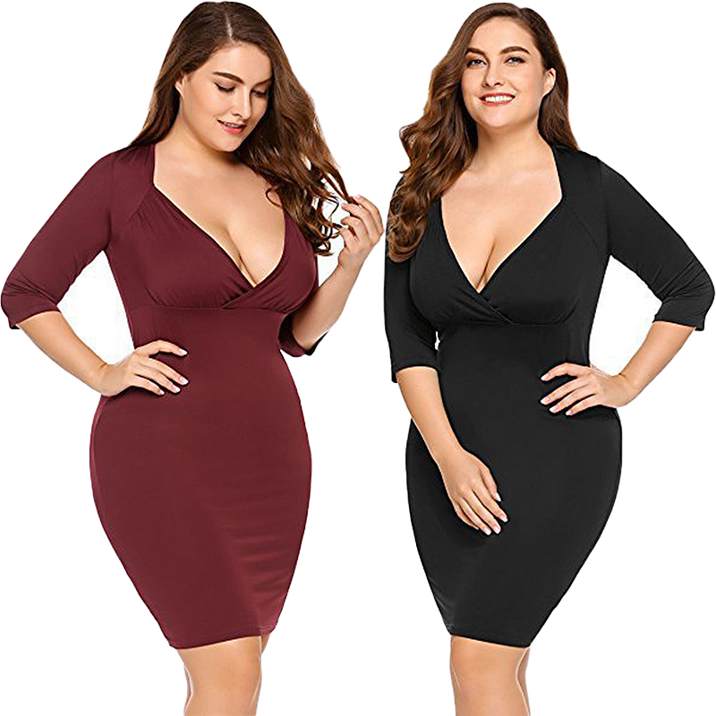 Women <font><b>Sexy</b></font> <font><b>Club</b></font> <font><b>Dresses</b></font> Large Plus Size <font><b>4XL</b></font> Casual Office <font><b>Dress</b></font> Deep V Neck Long Sleeves Bodycon Slim Tight <font><b>Dress</b></font> Vestidos 2020 image