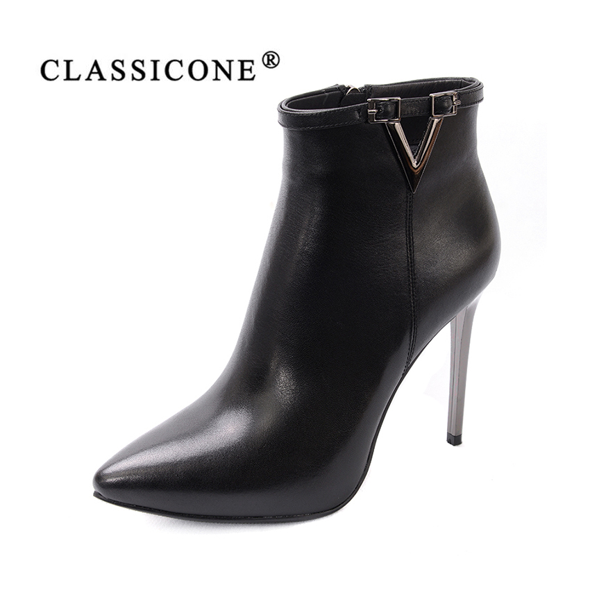 women shoes spring autumn woman ankle boots thin high heel pumps genuine leather fashion brand style luxury black CLASSICONE