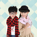 Versión coreana de los niños de moda otoño y el invierno de las muchachas muchachos de la manera bufanda a cuadros bufanda