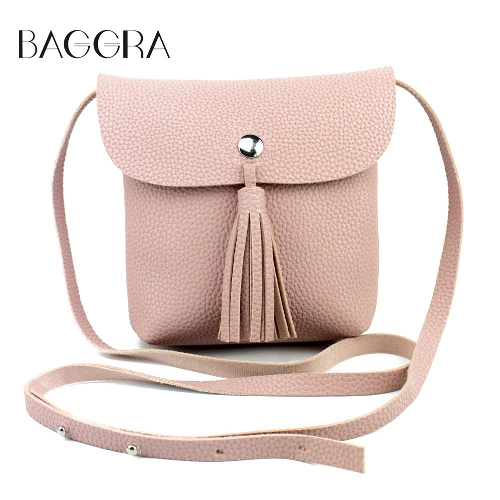 2017 Korean Retro Fashion Women Shoulder Bag PU Leather Flap Tassel Bag Pink Stud Casual Mini Crossbody Bag Girl Phone Sling Bag