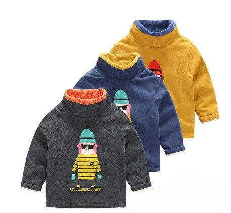 2016 winter Turtleneck Children cotton thick fleece T shirt baby boys girls Cashmere hoodies kids wool warm Sweatshirts 2-7years