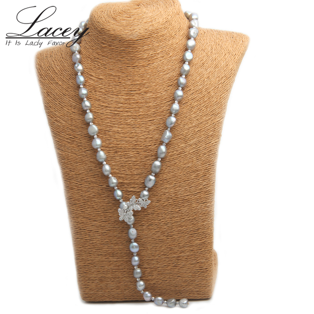 10mm Baroque Pearl Necklace Real Freshwater Cultured Long Pearl Necklace Fine Je
