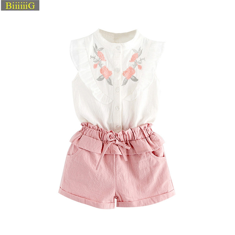 Embroidery Children's Suits Girl Summer Fashion Tops+Pants 2Pcs/Sets Kids Floral Shirt Shorts Children Clothing Set Free Shippin