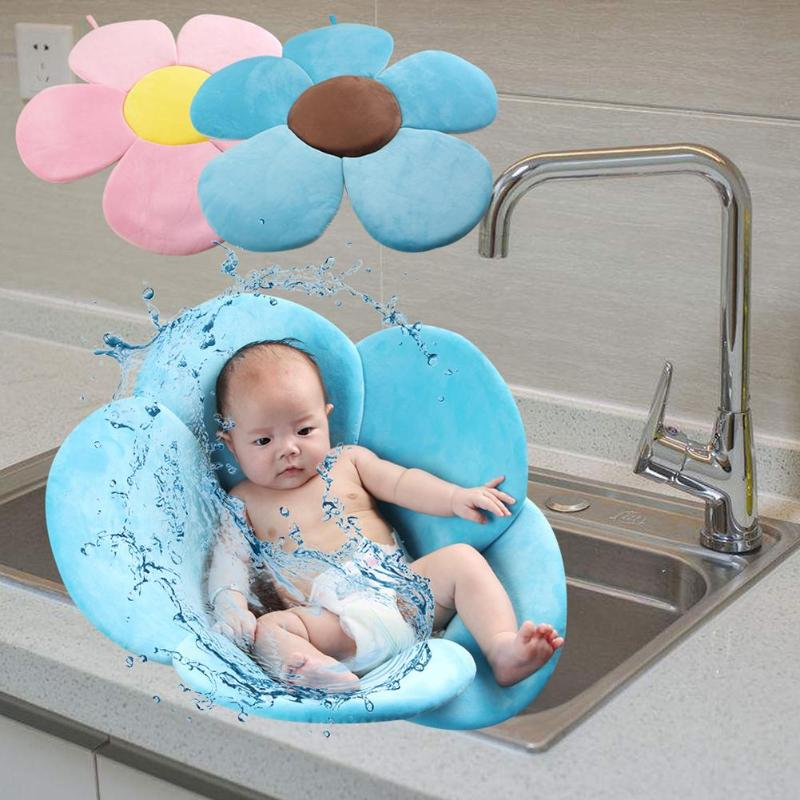 Baby Shower Bath Adjustable Tub Pad Baby Bathtub Mat Non Slip Flower Soft Plush Bath Floating Pad Newborn Safety Bath Cushion