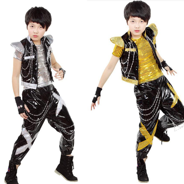 Niños hip hop rendimiento Conjuntos de ropa 2015 boysjazz trajes de danza  moderna niños de plata 1d695b34638
