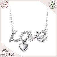 Alta Qualidade Coreano Estilo Simples Design de Jóias Carta de Amor Pingente de Prata Pura 925 Colar de Prata Para A Mulher