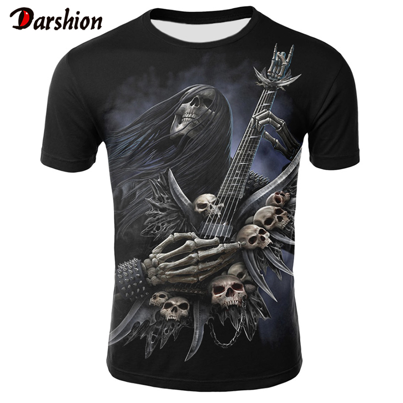 3D Printing Skull T-shirts Man T-shirt Short Sleeve Black Tees Fashion Woman Men Streetwear Tshirts Summer 2019 New Casual Tops