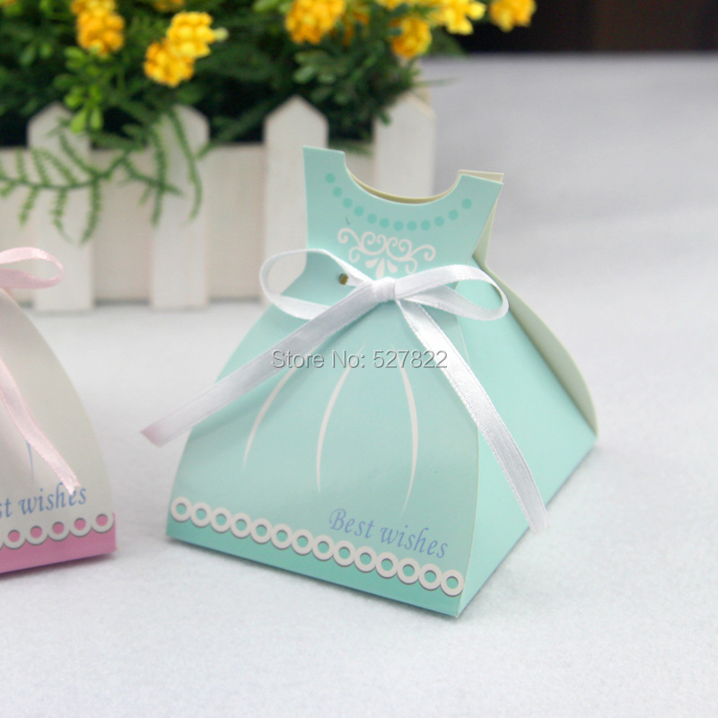 1000PCS Wedding Bride Dress Boxes with Ribbon Wedding Favour Candy ...