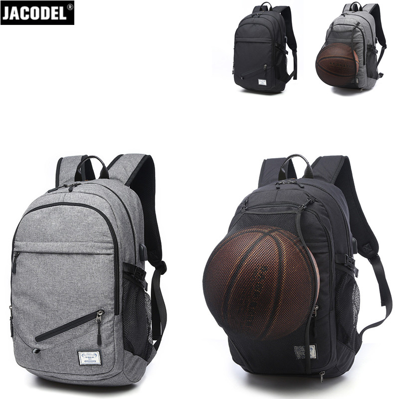 Jacodel Waterproof Outdoor Travel Bags 15.6 inch Laptop BackPack with USB Charger Student Backpack for Basketball Bag Sport Men