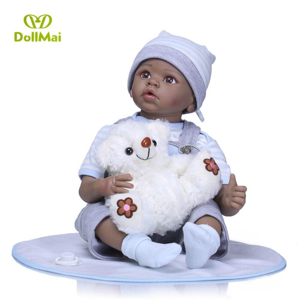 "Boy black dolls for girls gift 22""55cm silicone reborn baby dolls lifelike with bear plush doll  for childtoys Bebes reborn"