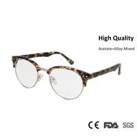 Sorbern Grado Superiore Rotonda Donne Uomini Occhiali Ottici Montature Occhiali Da Vista In Metallo Leopardo di Modo Del Progettista Miopia Occhiali Lenti Chiare