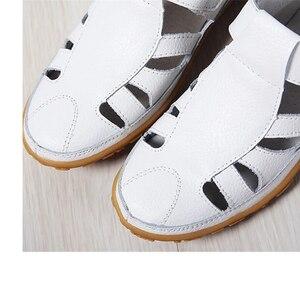 Image 4 - BEYARNEWomen gladyatör sandalet ayakkabı hakiki deri oyuk düz sandalet bayanlar rahat Softbottom yaz ShoesWomenBeachSandal