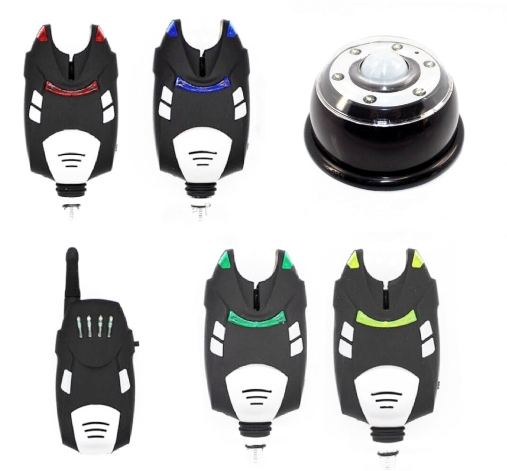 1 4 Fishing Alarm Set Wireless Digital Water resistant alarm with shock Receiver tent light in