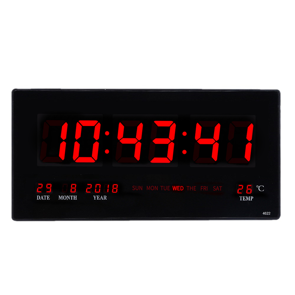 Electronic digital calendar alarm clock Living room large screen wall clock Luminous silent clock 6 digits 24hours desktop