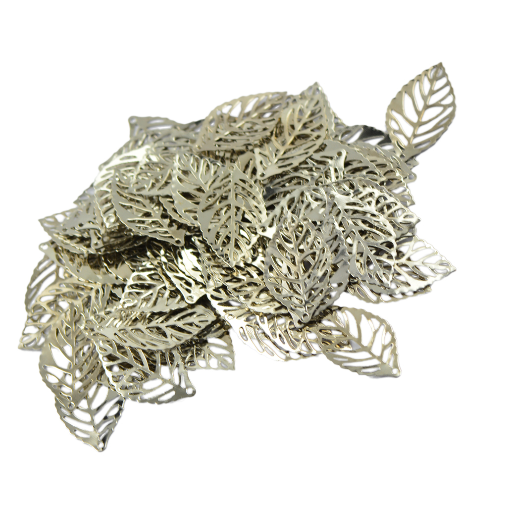 2019 100pcs Filigree Hollow Leaf charm Pendant For Necklace DIY Jewelry Making Connectors Connector Crafts