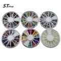 6 x encantos 3d acrílico Glitter strass Metal Rivet Studs prego decoração arte para Gel UV DIY suprimentos unhas NC054