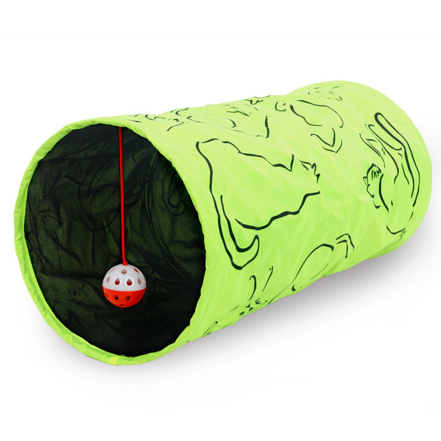 Pet Tunnel Cat Printed Green