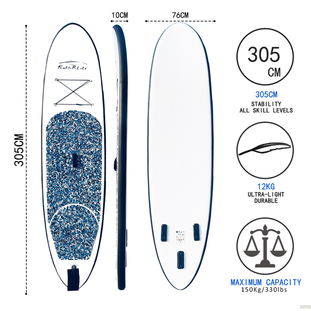 Funwater All Round Paddle Board 10'Length 30″ Width 4″ Thick Inflatable Sup with Adjustable Paddle,ISUP Travel Backpack,Leas