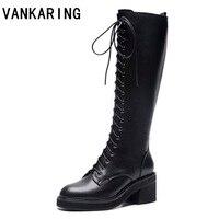 Женские кожаные сапоги до колена; сезон осень зима; женская повседневная обувь; женские брендовые модные ковбойские сапоги на толстом каблу