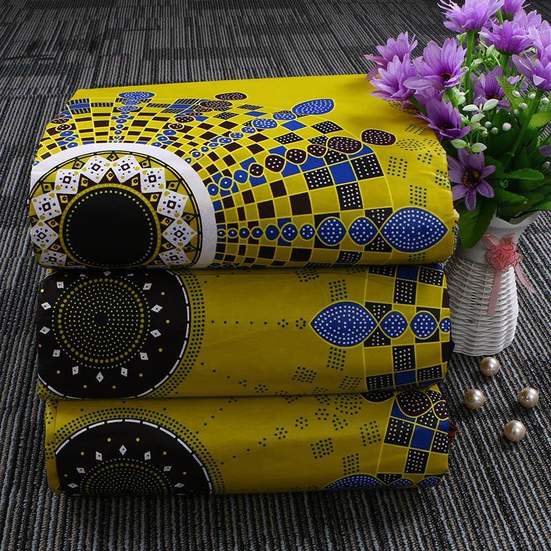 100% Cotton Geometric Calico Ankara African Wax Print Fabric 6 Yards Wax Batik For Women Men High Quality