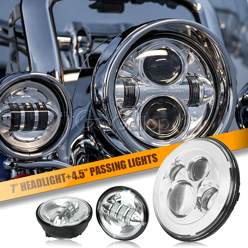 7 chrome led projecteur daymaker phares et feux de croisement pour harley davidson softail. Black Bedroom Furniture Sets. Home Design Ideas