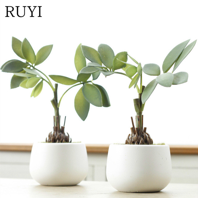 Real Touch Fortune Tree Simulation Succulents Potted Plant With Vase