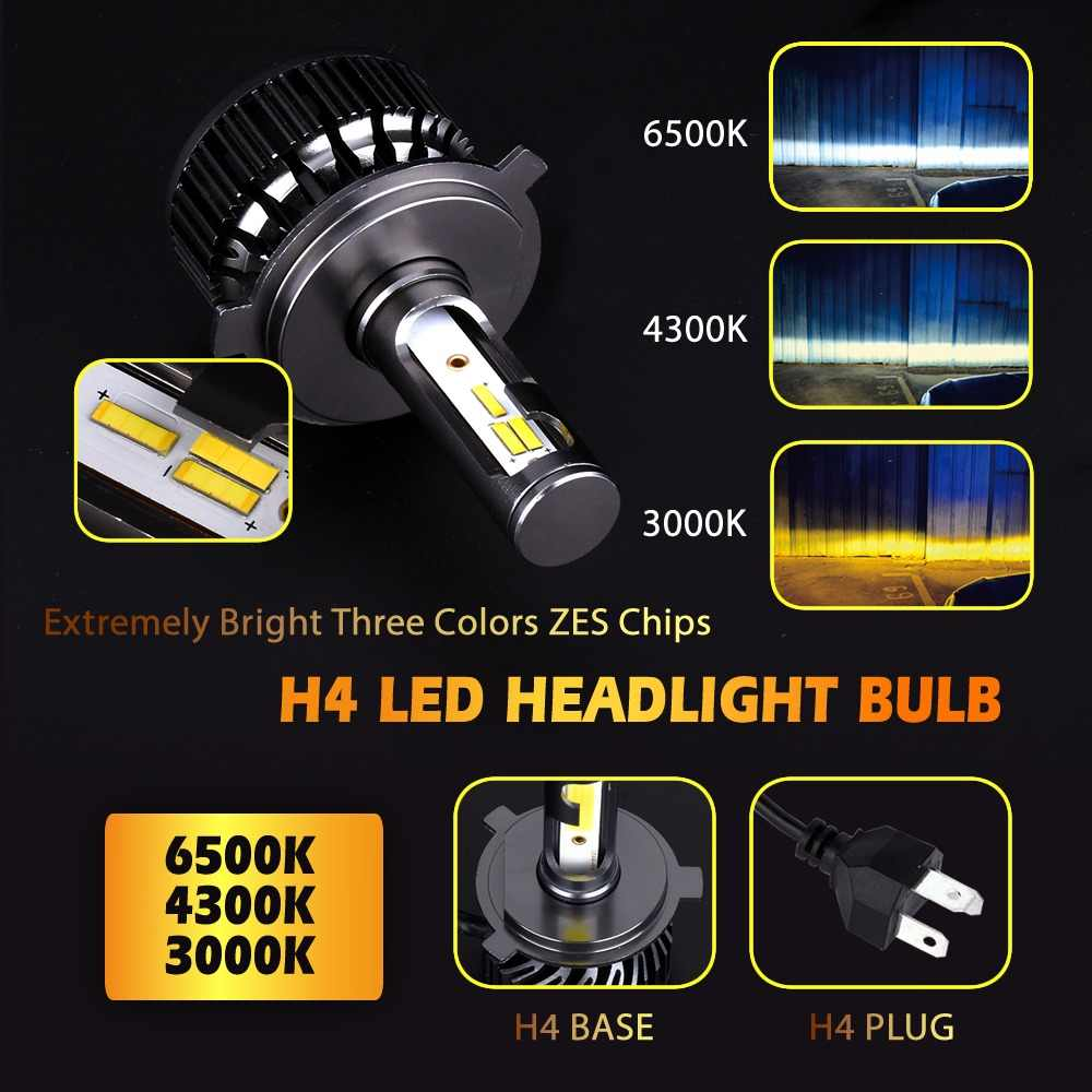 2PCS H7 Led H4 LED H1 H3 H8 H11 9005 HB3 9006 HB4 9007 3000K 4300K 6500K 72W 8000LM Car Light Auto Headlight with ZES Chips