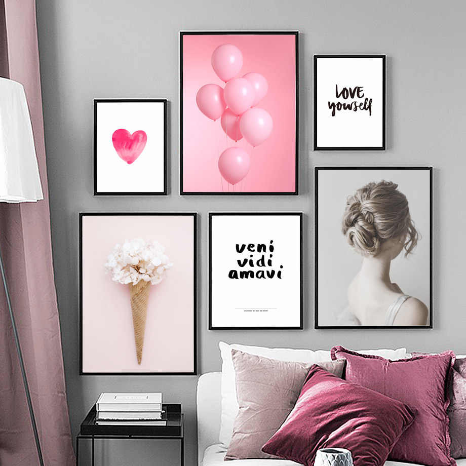 Pink Balloon Heart Girl Flower Love Quote Wall Art Canvas Painting Nordic Posters And Prints Wall Pictures For Living Room Decor