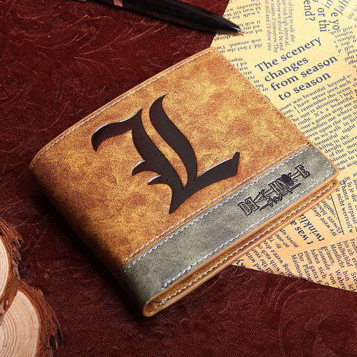 Japanese font b Anime b font Death Note Letter L Symbol PU Leather Short Bifold Wallet