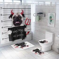Diabeł z nadrukiem z psem zasłona prysznicowa 4 sztuka dywan pokrywa toaleta pokrywa mata do kąpieli zestaw podkładek kurtyna łazienkowa z 12 hakami