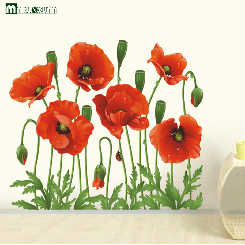 Big Discount Red Poppy Removable Wall Decals Decoration Art Flower Vinyl Wall  Mural Stickers Free Shipping