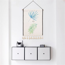 Green Plants Leaf Hanging Wall Cloth Art Paintings Home Decor Leaves Decoration Nordic Style Tapestry