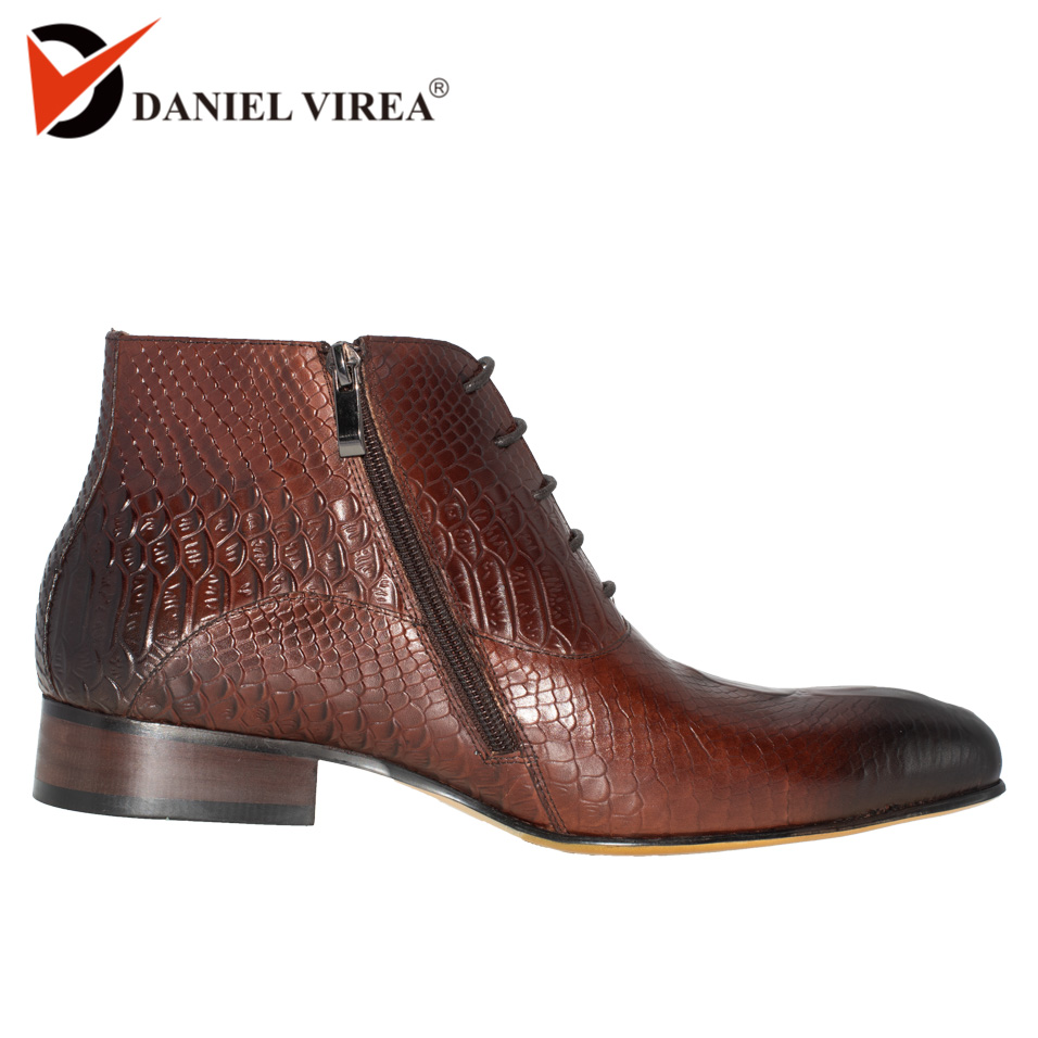 Men Dress Leather Boots Basic Black Brown Color Fashion Luxury Brand Lace up and Zip Ankle
