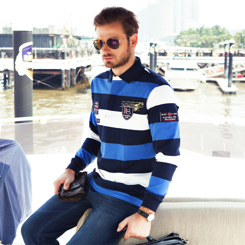 2018 outono marca masculina em linha reta colorido listrado estilo de negócios suéter tubarão algodão de alta qualidade dos homens manga longa camisola
