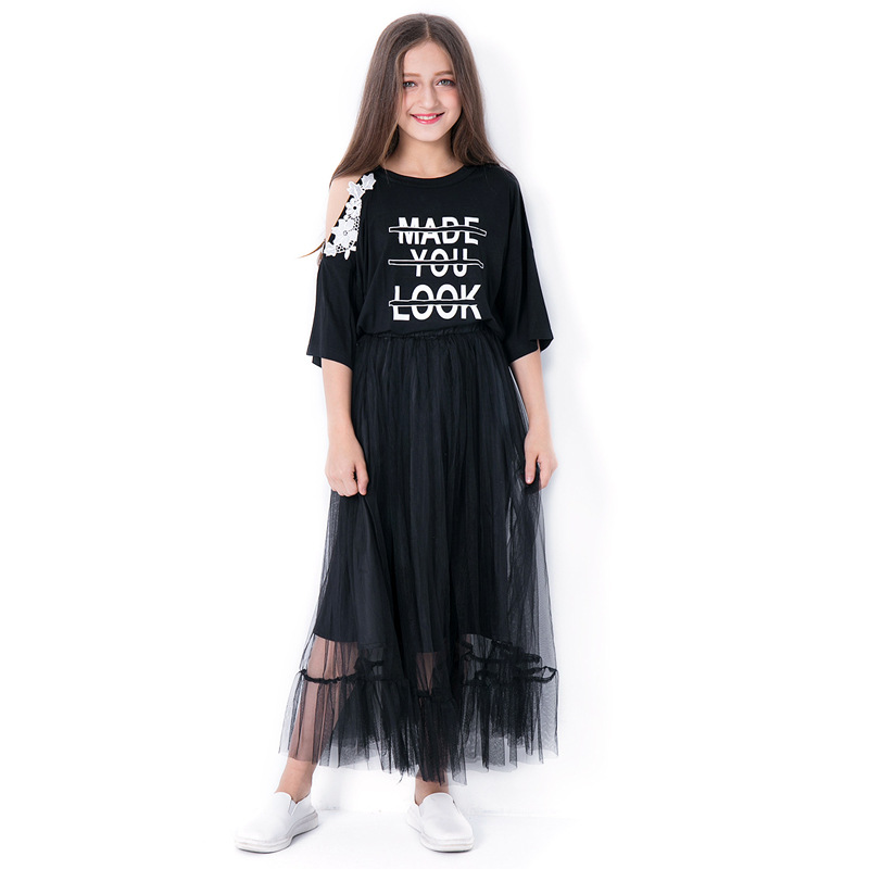 Teenage Girls Clothing Summer Girls Clothing Set two piece Off shoulder Tops Black Mesh Skirts Size 10 11 12 14 years Girls Set все цены