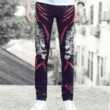 Free Shipping, 2017 Spring And Autumn New Fashion European Men's Casual Denim Jeans Slim Printing