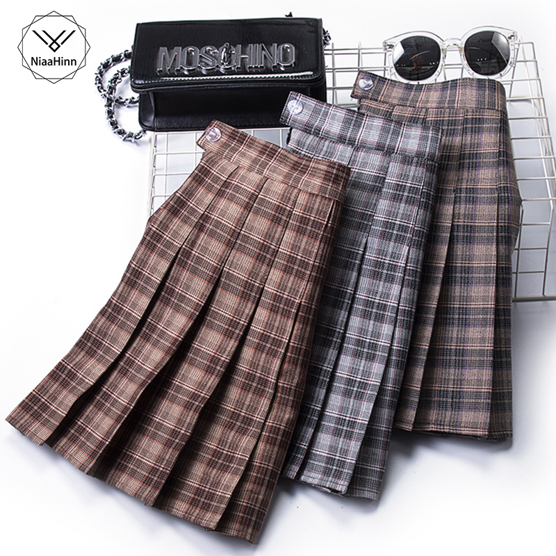 Plus Size 3XLShort Skirts Womens New Summer A Line Sun School High Waist Fashion Plaid Pleated Skirt Female Korean Elegant Skirt