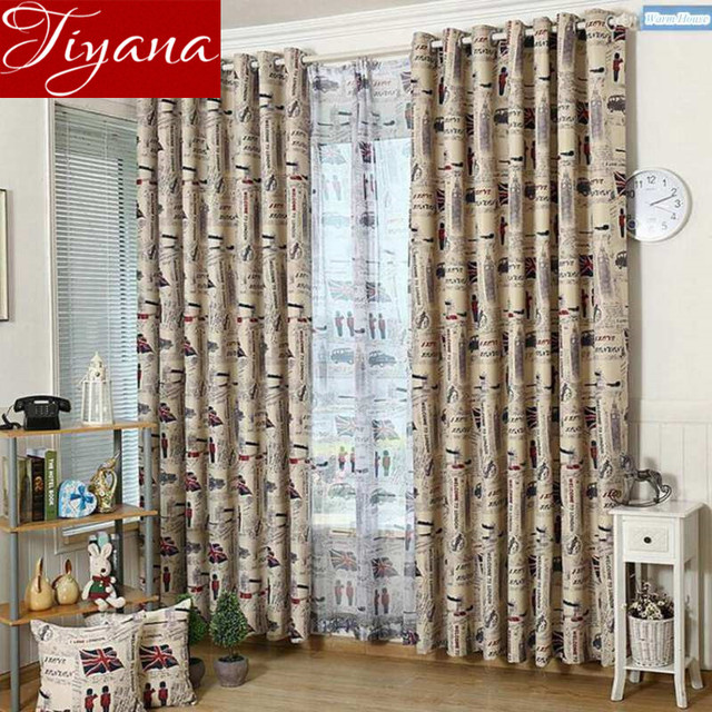 Retro European British Union Jack Printed Voile Curtains For Kids Room  Bedroom Living Room Curtains Cloth